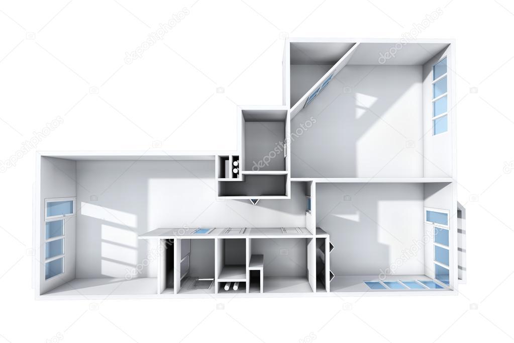 3d rendering. model van het drie kamer appartement. het lege