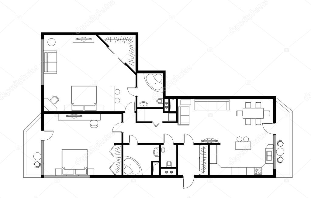 Three Room Apartment draft plan of the three-room apartment, 120m with furniture