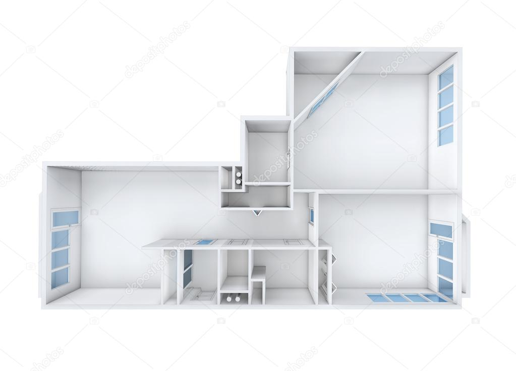 3D Rendering. Model Of The Three Room Apartment. The Empty Apartment  Without Furniture, Bathroom Equipment And Finishing. U2014 Photo By Irogova