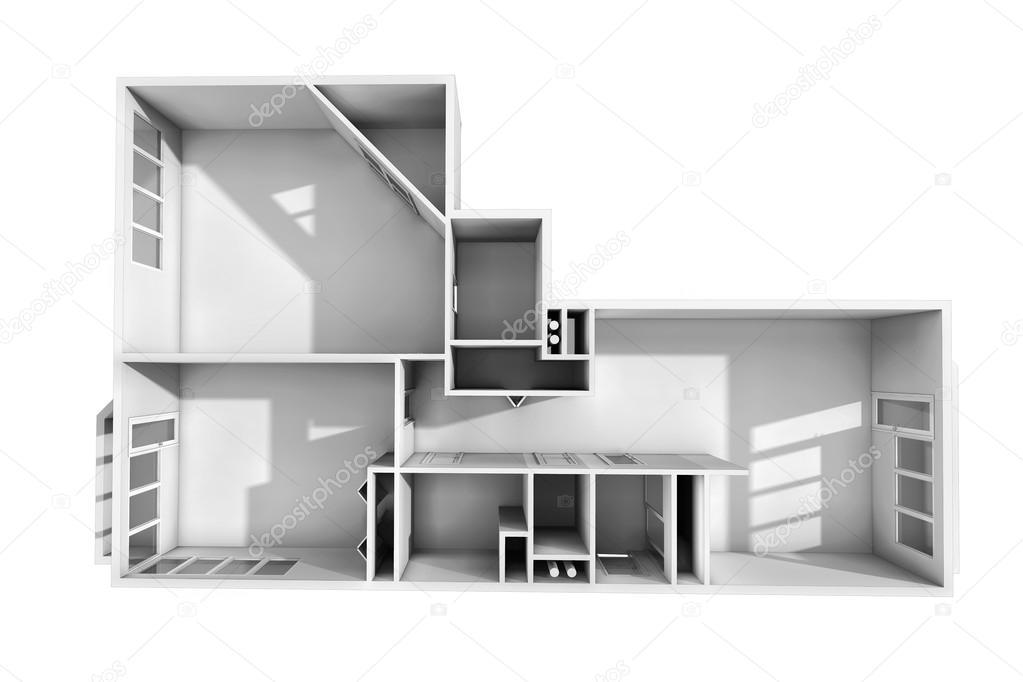 D rendering model van het drie kamer appartement het lege
