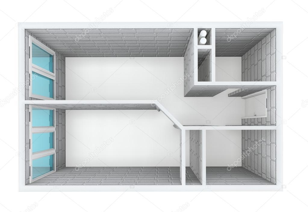 3d rendering. model van het één kamer appartement. muren van een