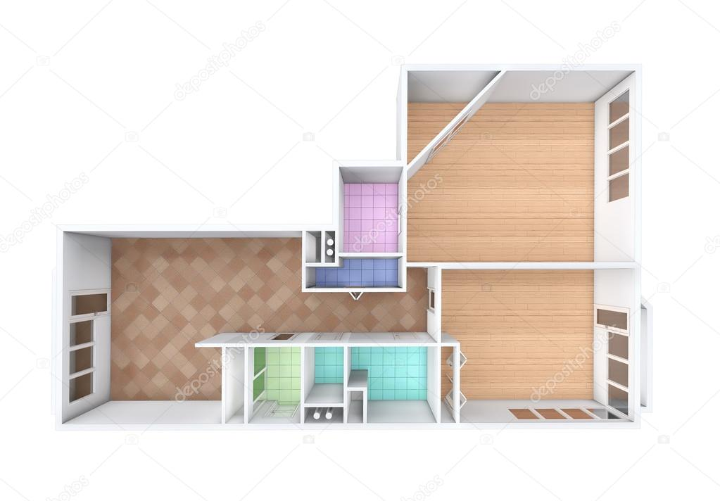 Three Room Apartment 3d rendering. model of the three-room apartment, tile and parquet