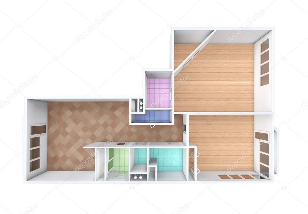 D rendering model van de drie kamer appartement tegels en