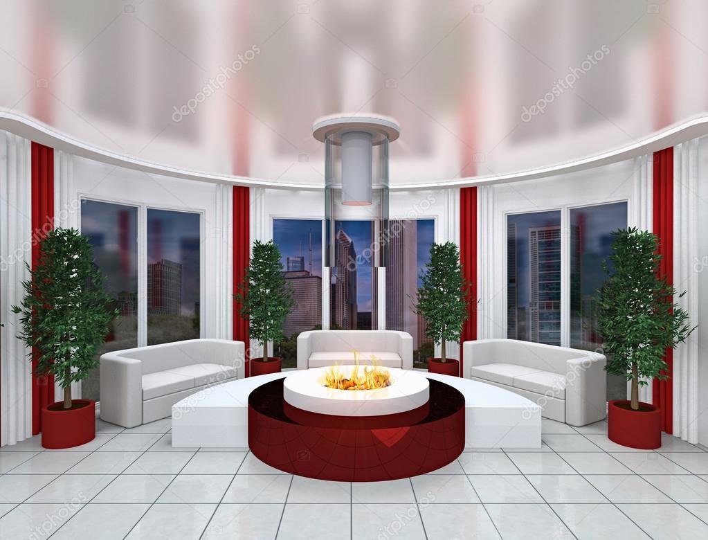 Rendu d le bureau moderne chambre émis dans les tons blanc rouge