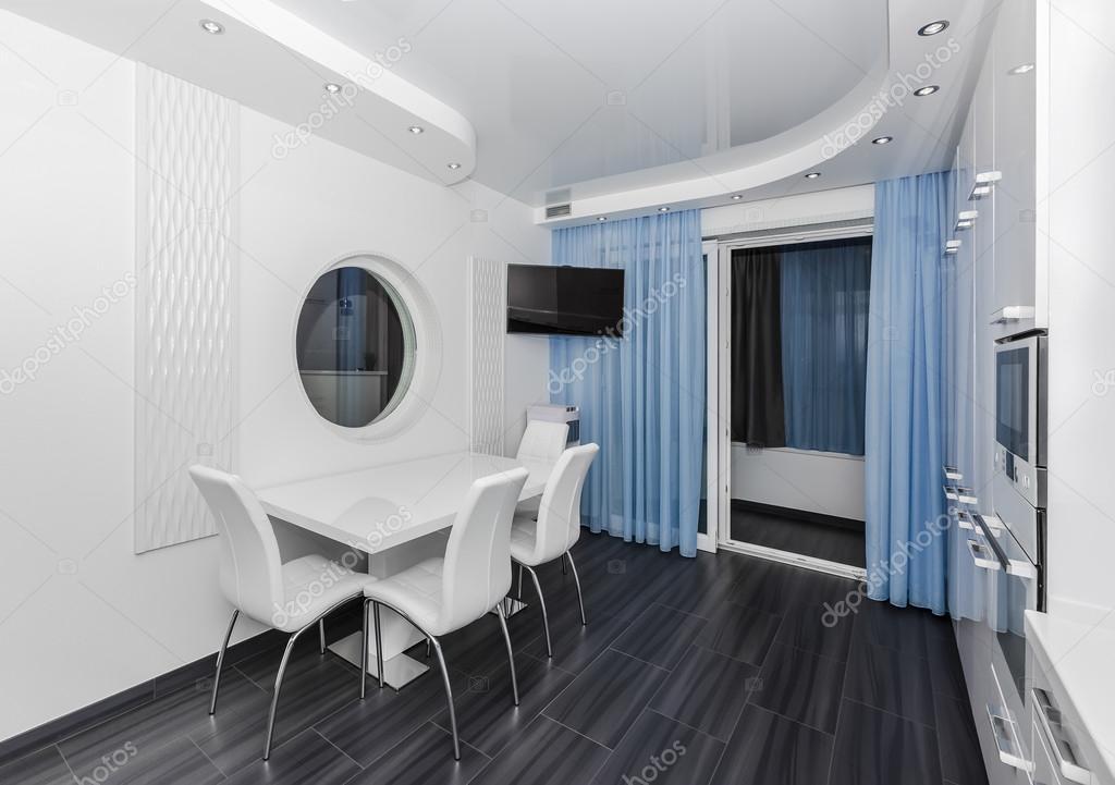 Spécieux Moderne Blanc Bleu Intérieur Cuisine Salle à Manger