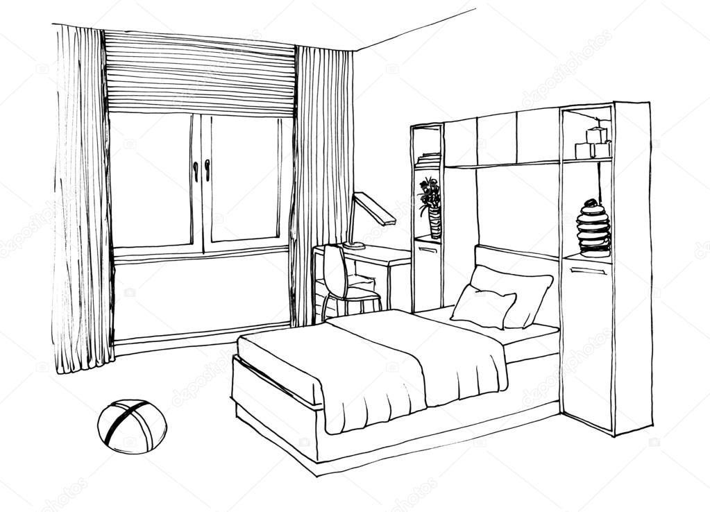 room sketch illustration stock kids room graphical sketch stock photo 169 irogova 79973314. Black Bedroom Furniture Sets. Home Design Ideas