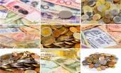 Sok más ázsiai valuta bankjegyek és c kollázs (készlet)
