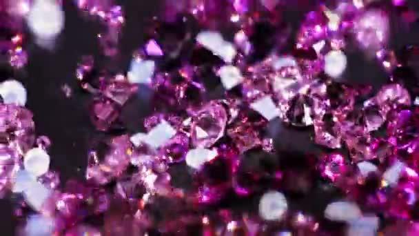 Mnoho malých brilantní klenot kameny, rotační, luxusní pozadí