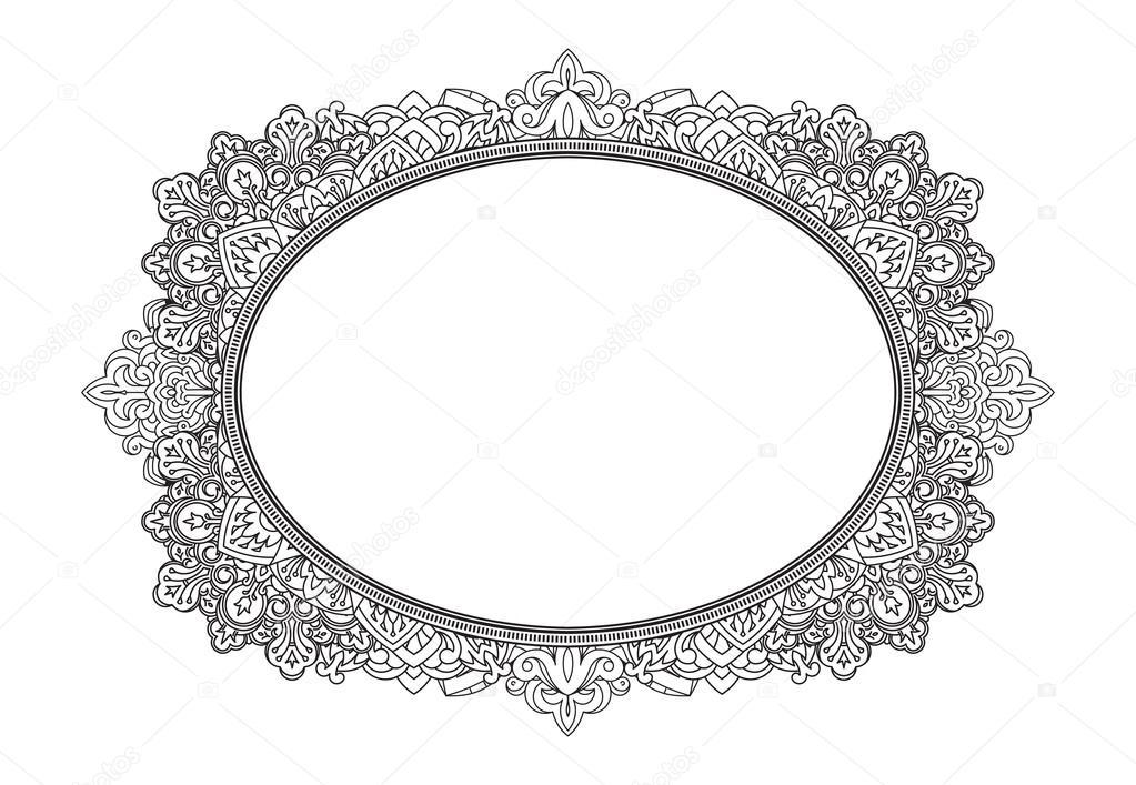Arabesco oval vetor | Rica decoración patrón de marco oval — Vector ...