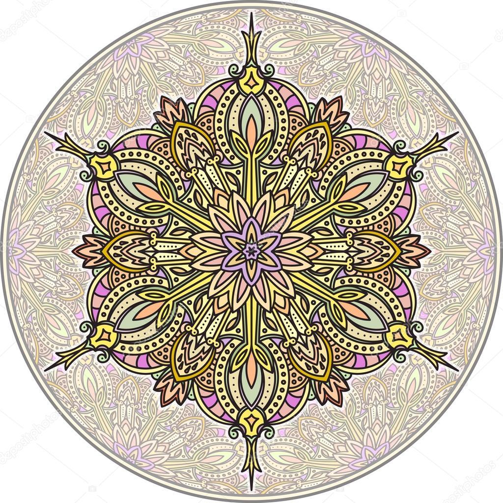 Абстрактные векторные цвет круглый дизайн кружева - Мандала, этнические  декоративный элемент. Может использоваться как анти-стрессовая терапия —  Вектор от ... 35aa1fc1c75