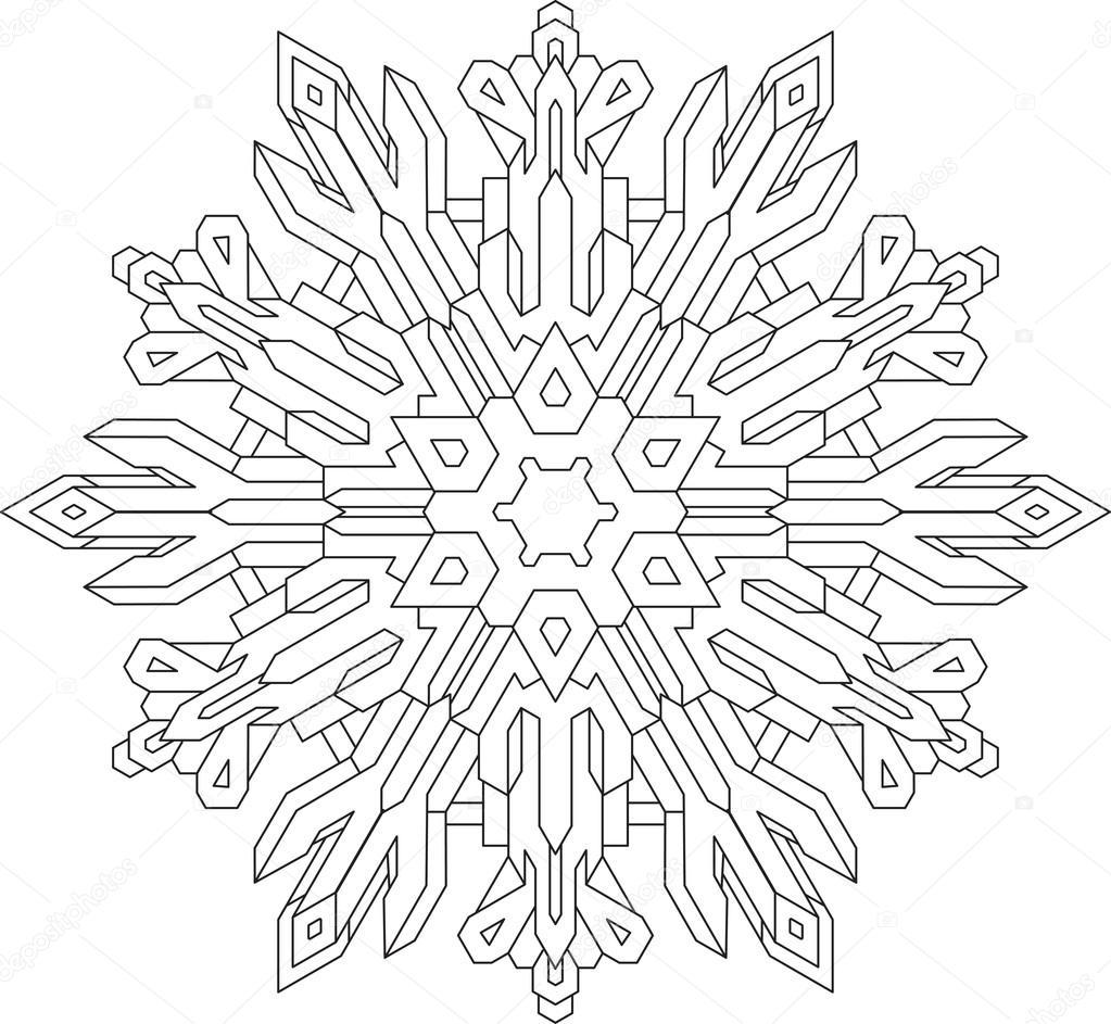 copo de nieve en estilo de línea mono — Vector de stock © antonshpak ...