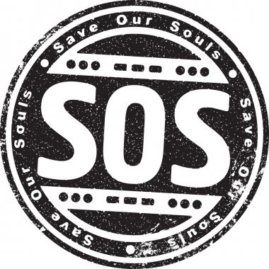 Rubber stamp with words SOS