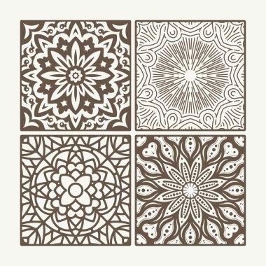 Set of 4 square lace floral vintage designs