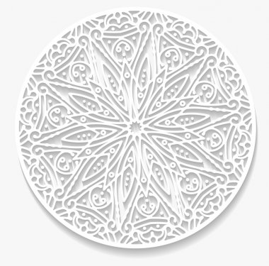 Round paper lace doily, greeting card. Decorative, geometric vector snowflake, mandala. stock vector