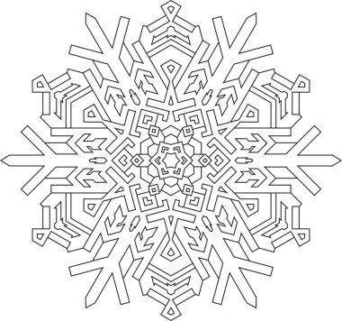 Outlines of snowflake in mono line style