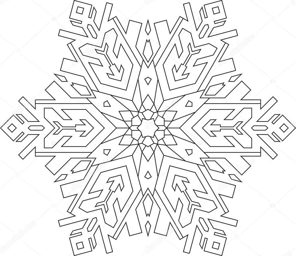 Kar Tanesi Mono çizgi Stili Ana Hatları Stok Vektör Antonshpak