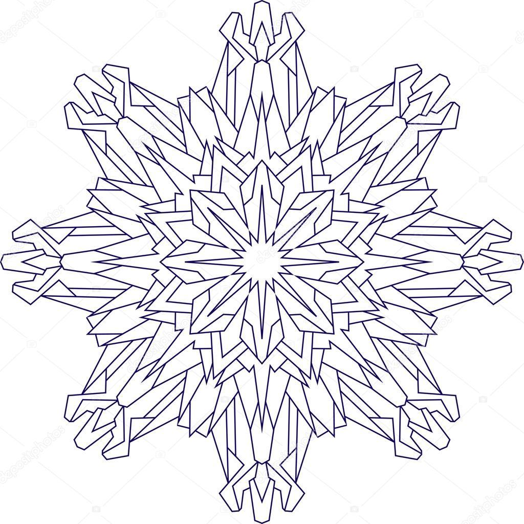 copo de nieve en tonos azules para colorear — Vector de stock ...