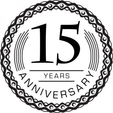 Vintage anniversary 15 years emblem.