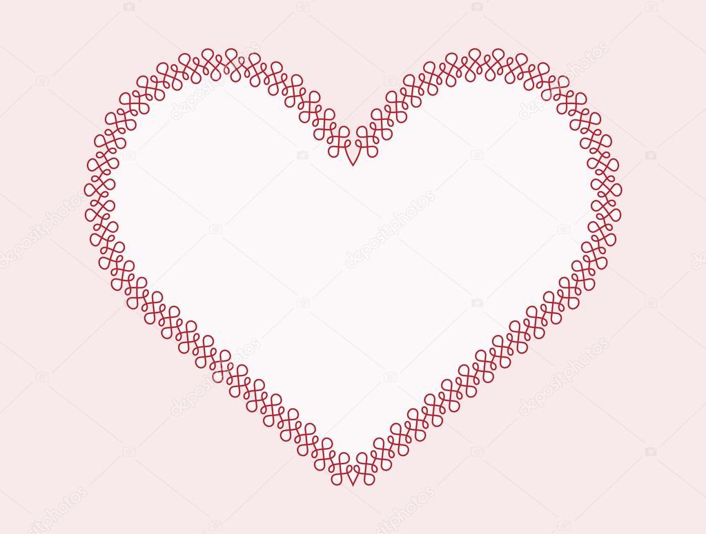 Marco de contorno caligráfico en forma de corazón — Vector de stock ...