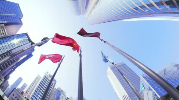 Flags of Hong Kong and China and high skyscrapers at sunny day