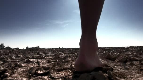 Barefoot female walks on cracked land