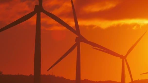 Wind power turbines rotate
