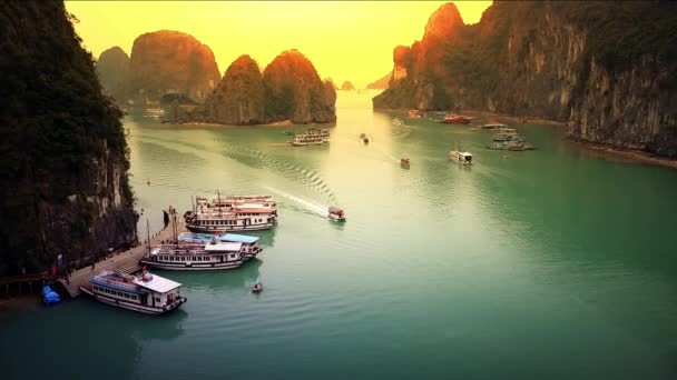 Halong Bay Vietnam landscape timelapse panoramic view of boats harbor traffic