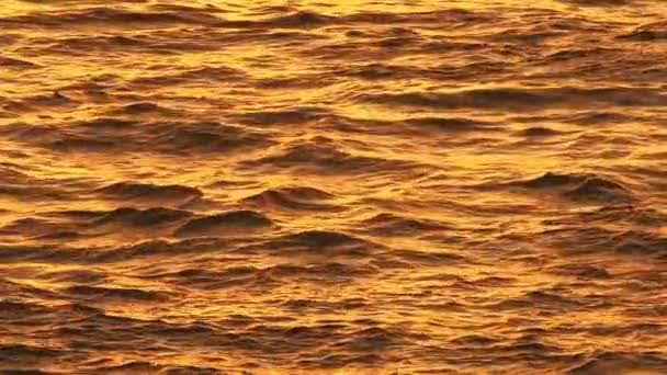 Sunset sea waves slow motion background