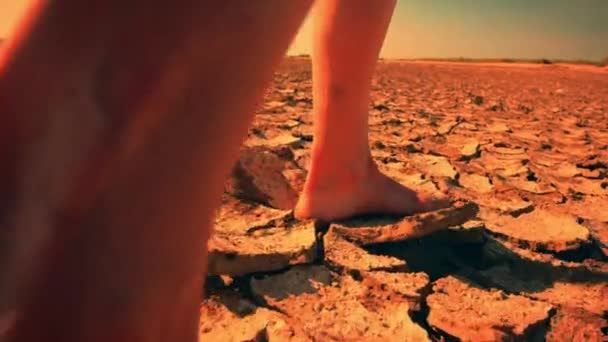 woman walks through surreal desert land