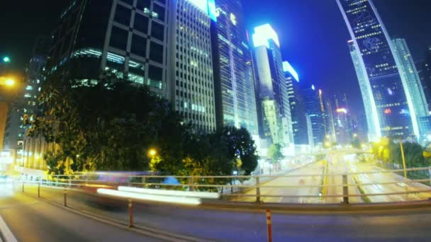 Motion blur effect of moving cars on road of modern city at night
