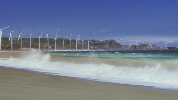ocean shore with big wind mills turbines