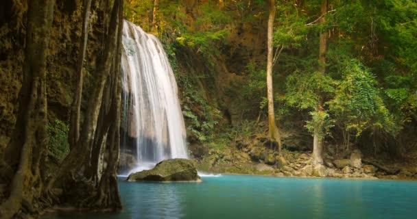Tracking slider video of idyllic waterfall