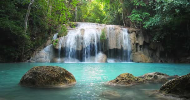 Scenic waterfall in Thailand tropical forest.