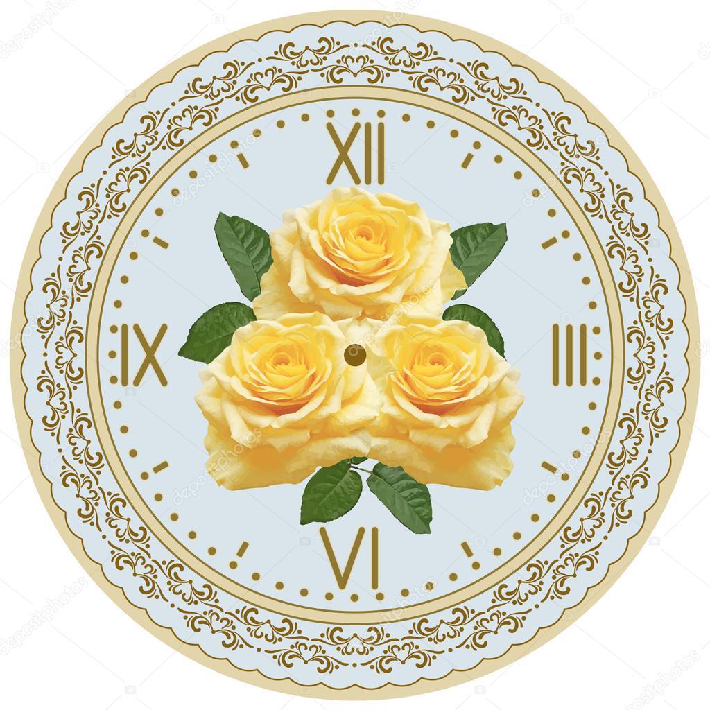 Fronte di orologio con ornamento e le rose vettoriali stock marisha 104490348 - Le finestre di fronte ...
