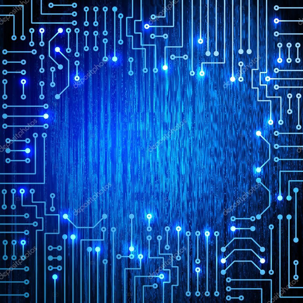 Circuito Eletronico : Circuito eletrônico em fundo azul — stock photo marisha