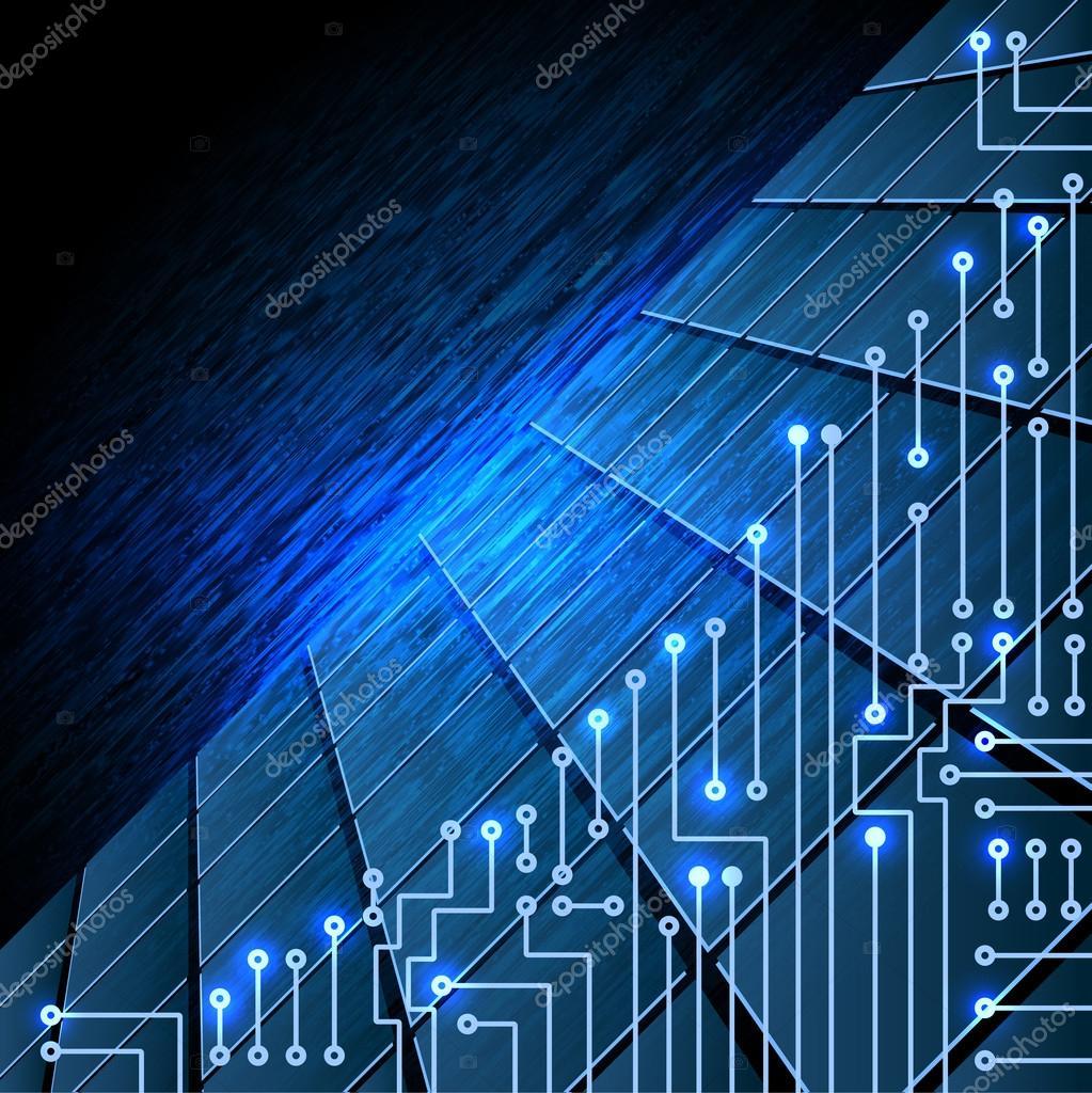 Circuito Electronico : Circuito electrónico sobre fondo azul de la colmena u foto de