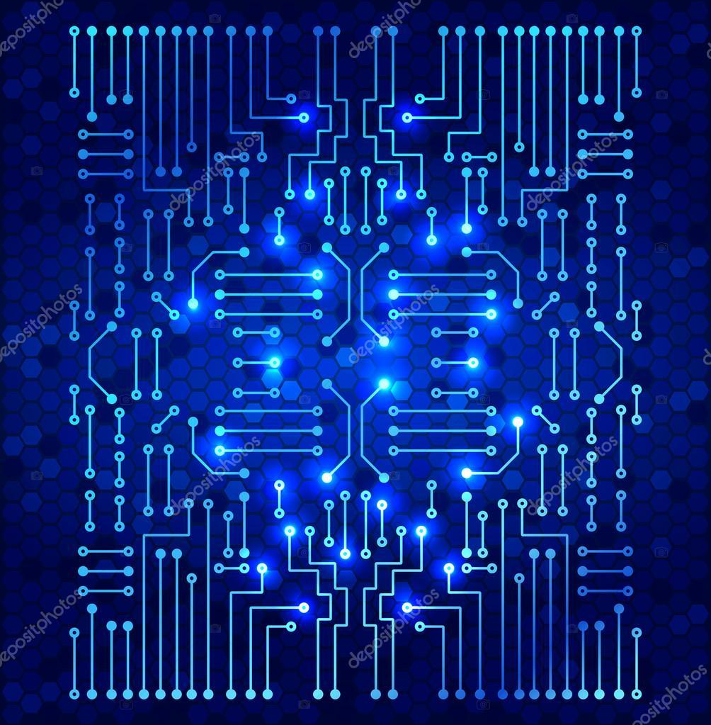 Circuito Electronico : Circuito electrónico moderno de dibujo en el patrón de células