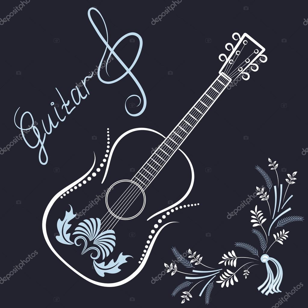 Guitarra Con Clave De Sol E Inscripciones Archivo Imágenes