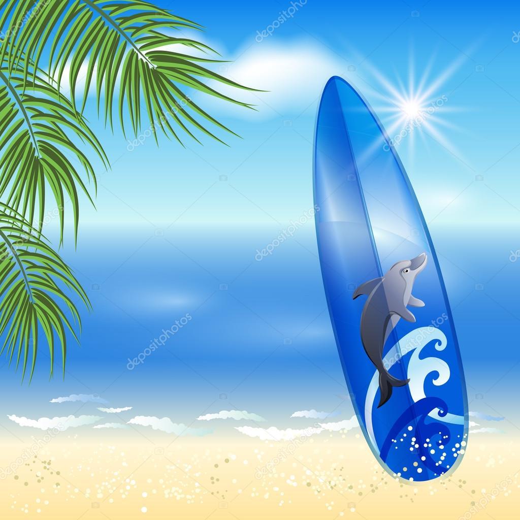 Tavola da surf blu sullo sfondo mare vettoriali stock marisha 53409645 - Tavola da surf motorizzata prezzo ...
