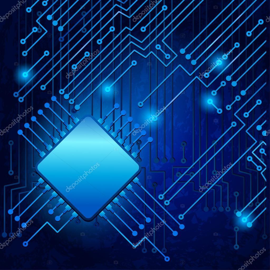 Circuito Electronico : Dibujo moderno circuito electrónico — vector de stock