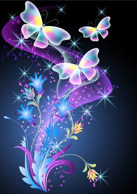 Glowing background with smoke, flowers and butterfly clip art vector