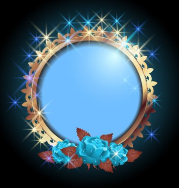 Round frame and blue roses