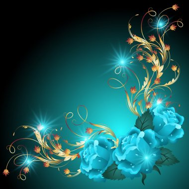Blue roses with golden ornament