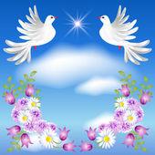 Dvě bílé holubice na obloze