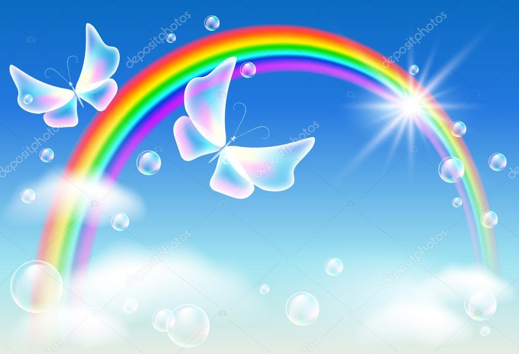 Flying two butterflies in the sky with rainbow