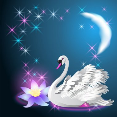Magic lily and white swan swim at night under the moon