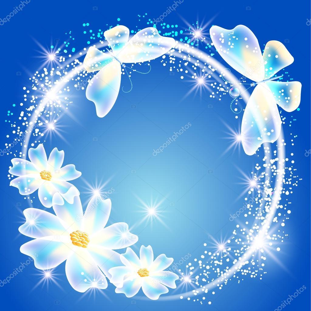 transparent butterflies flowers and sparkle stars u2014 stock vector
