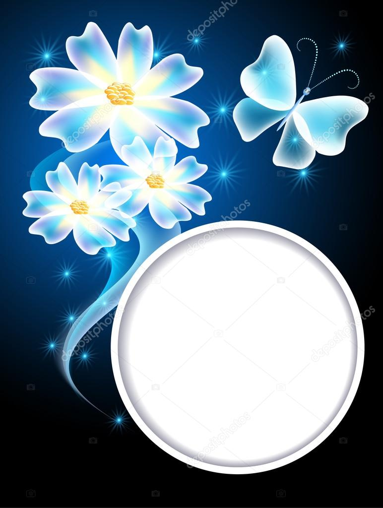 transparent butterflies flowers and white frame u2014 stock vector