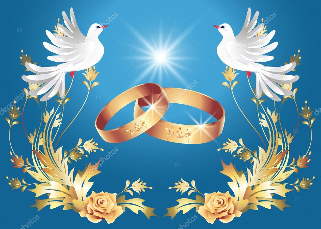 Открытки блондинками, картинки свадебные кольца и голуби в бело золотом цвете