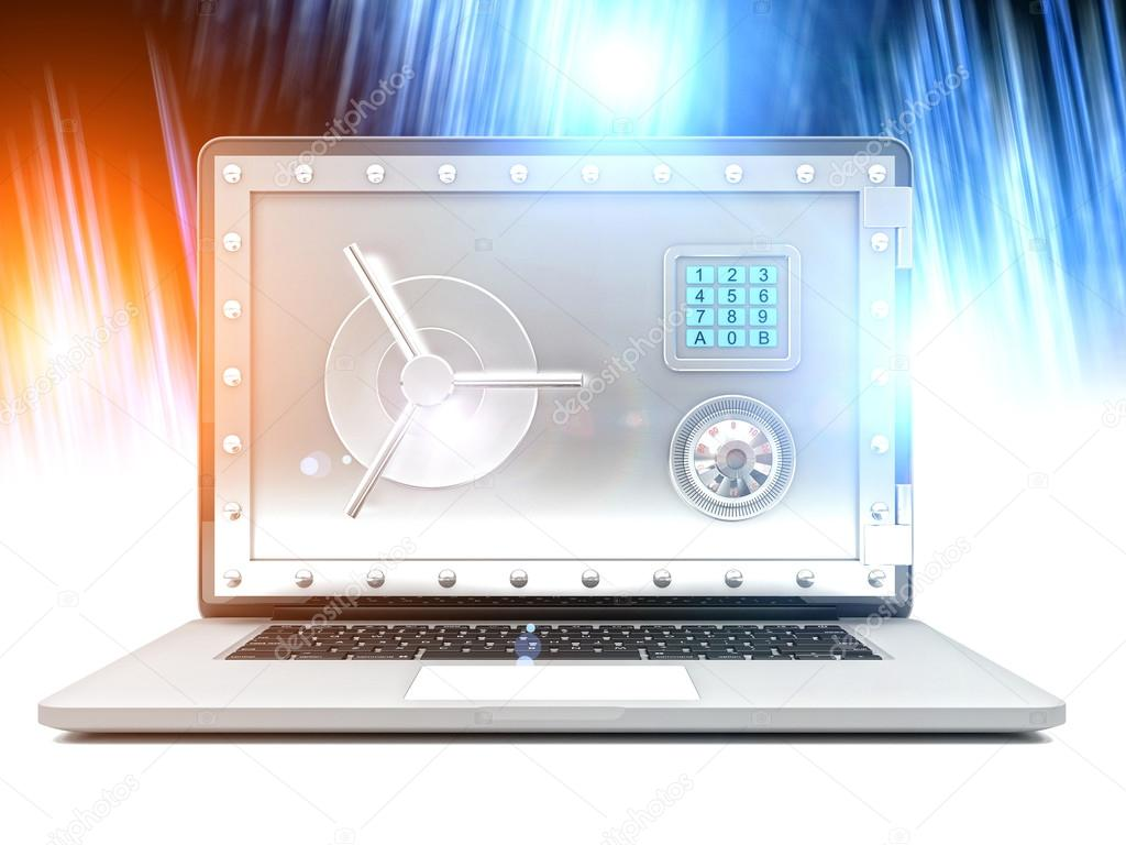porte de chambre forte pour ordinateur portable 3D — Photographie ...